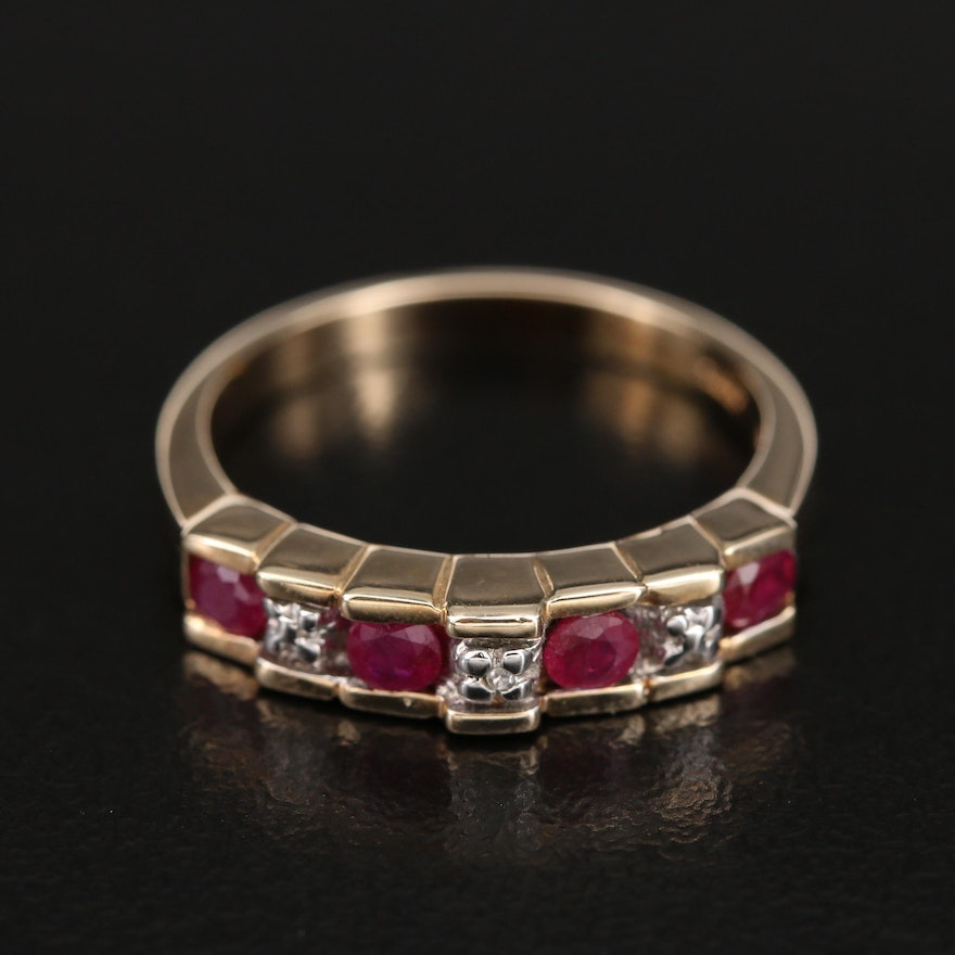 10K Ruby and 0.01 CT Diamond Stepped Ring