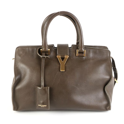 Saint Laurent Small Classic Y Cabas in Olive Leather with Detachable Strap