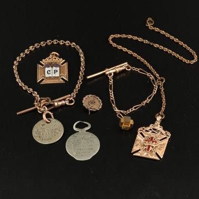 Antique Grouping of Watch Chain and Fobs Including Freemason and Knights Templar