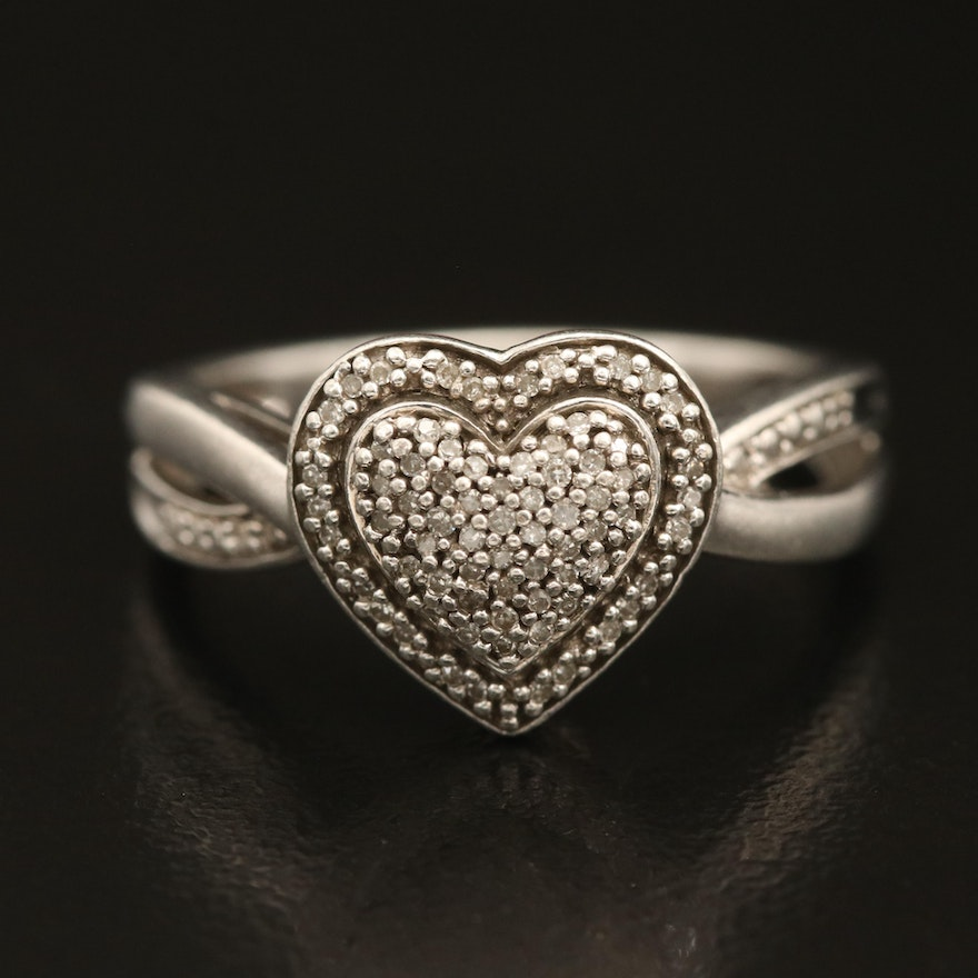 Pavé Diamond Heart Ring with Crossover Shoulders in Sterling Silver