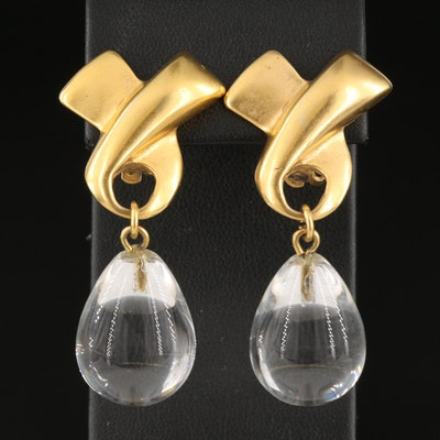 Rock Crystal Quartz Ribbon Clip Earrings