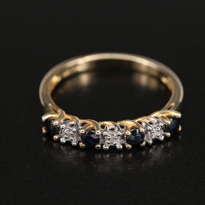 10K Sapphire and Diamond Trellis Set Ring