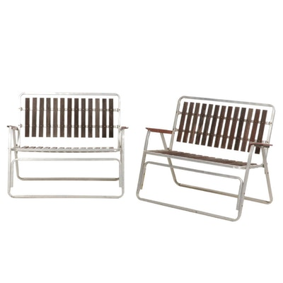 Two Folding Aluminum Patio Loveseats with Redwood Slats, Mid to Late 20th C