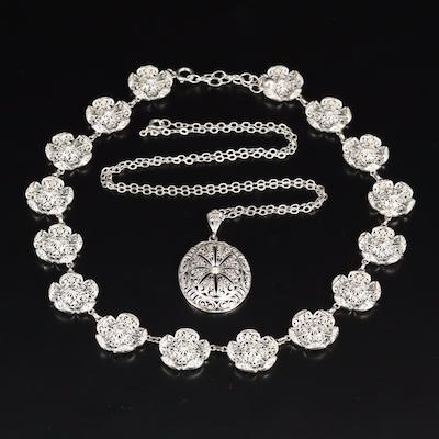 Sterling Filigree Floral Link and Pendant Necklaces