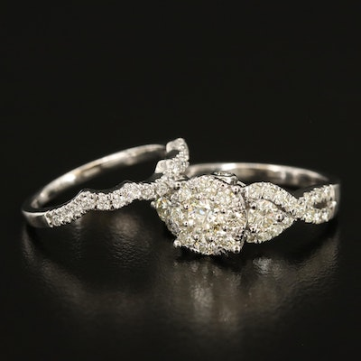 14K 1.85 CTW Diamond Ring and Band Set with Scalloped Edges