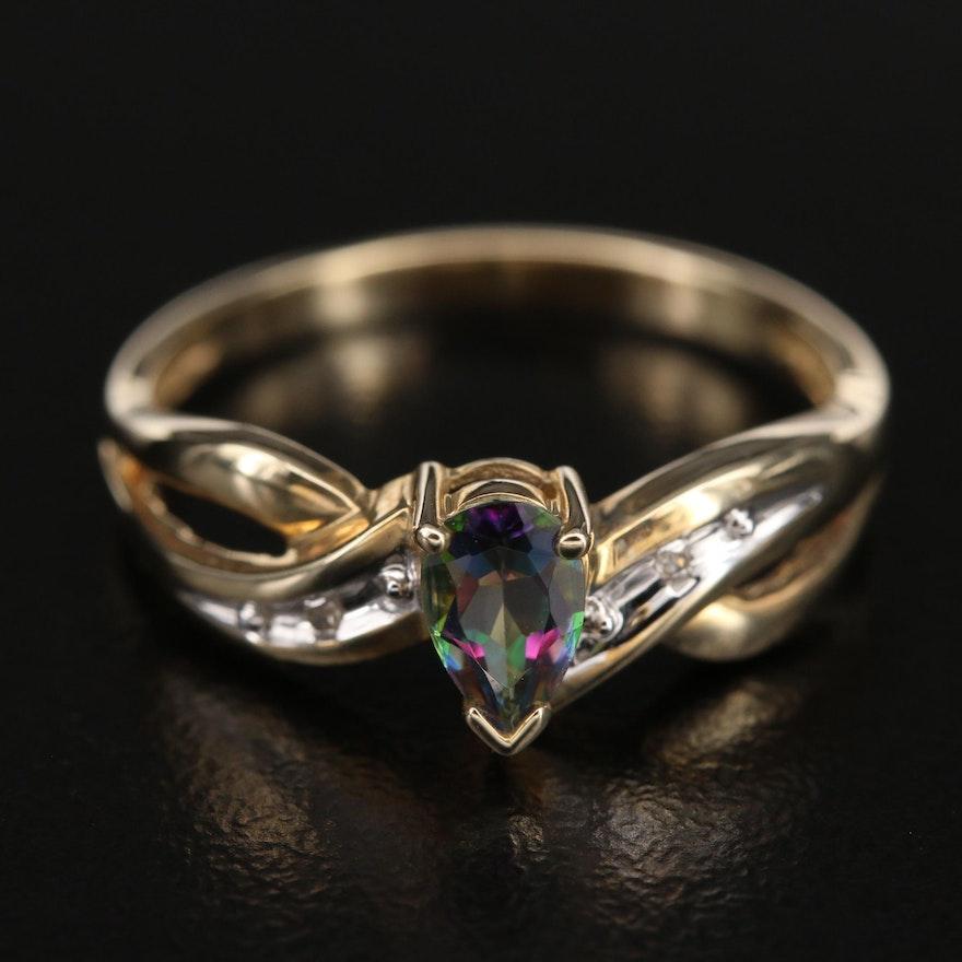 10K Mystic Topaz and 0.01 CTW Diamond Ring