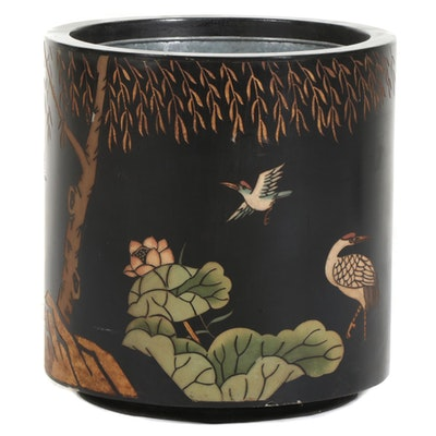 Chinese Wood Planter with Bird Motif