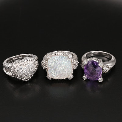 Judith Ripka Sterling Ring Collection with Druzy and Amethyst