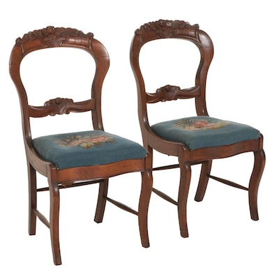 Pair of Victorian Walnut Balloon-Back Side Chairs, Early 20th Century