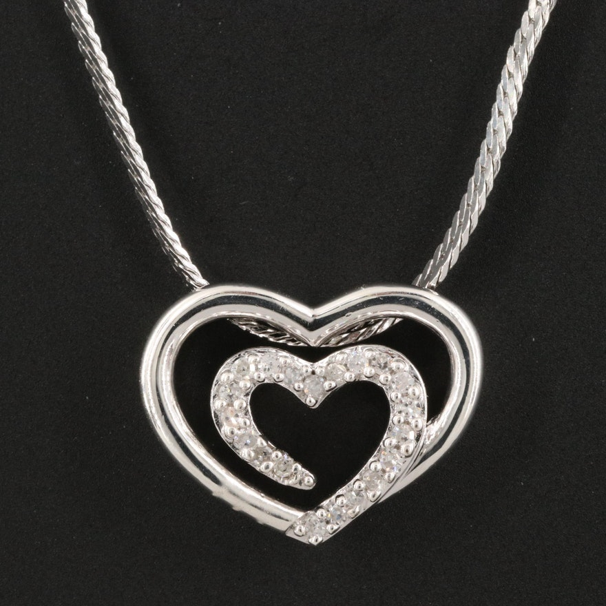 Sterling Diamond Double Heart Necklace