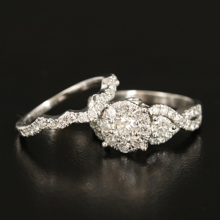 14K 1.81 CTW Diamond Ring and Band Set with Scalloped Edges