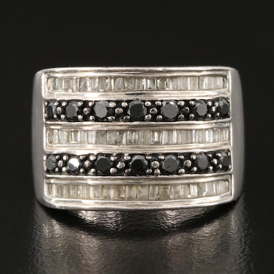 Sterling Silver Five Row Diamond Ring