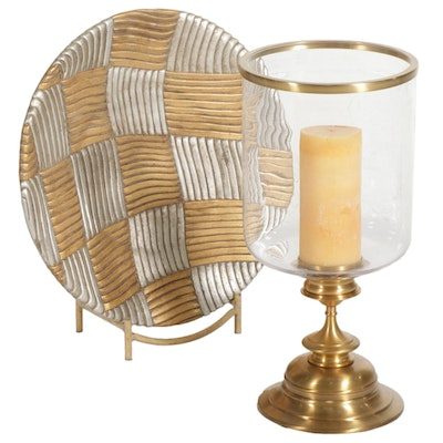 Brass Finish Floor Candle Holder With Decorative Charger and Stand