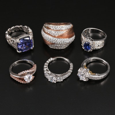 Sterling Sapphire and Cubic Zirconia Ring Collection