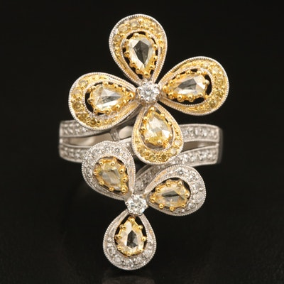 18K 1.30 CTW Diamond Floral Bypass Ring