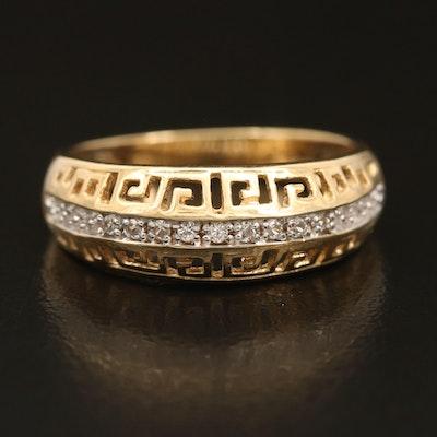 Sterling Zircon Ring with Greek Key Openwork