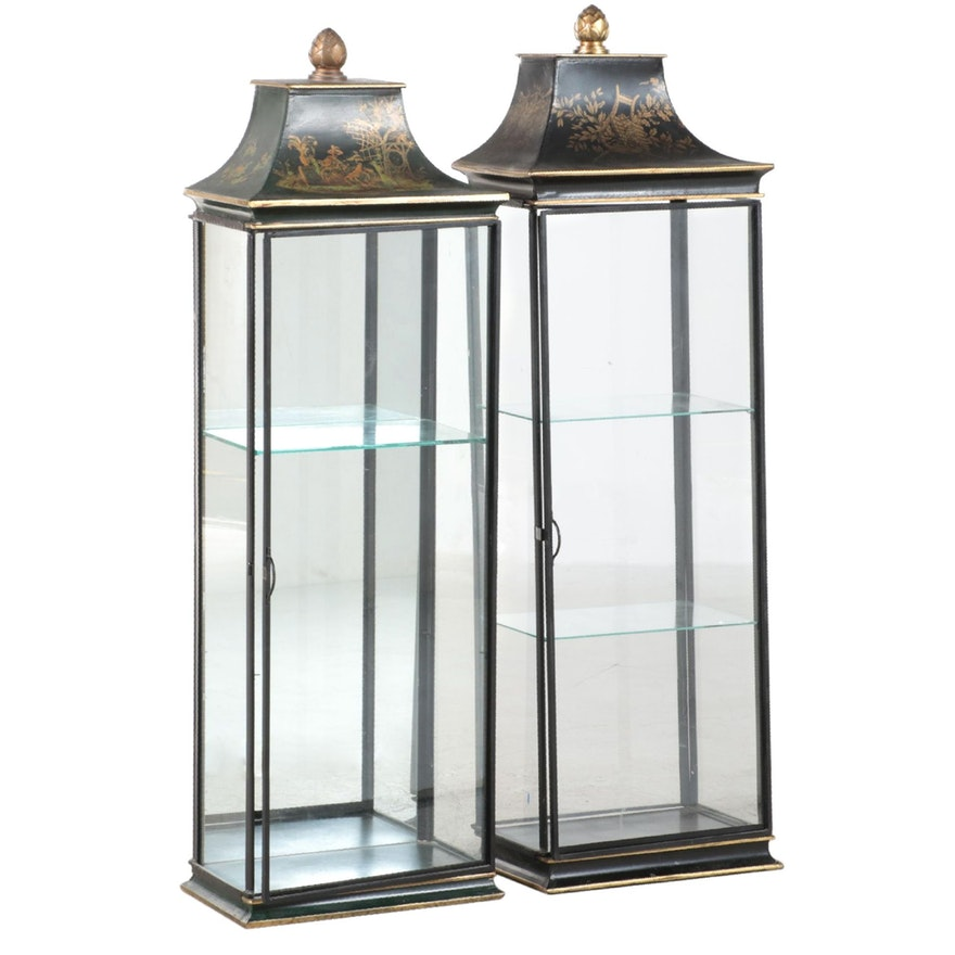 LaBarge Chinoiserie-Decorated Pagoda-Form Toleware Wall Display Cabinets