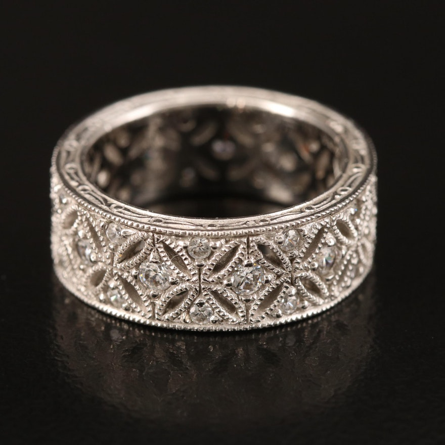Tacori Sterling Cubic Zirconia Floral Openwork Band