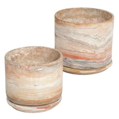 Comanche Pottery Marbleized Earthenware Planters