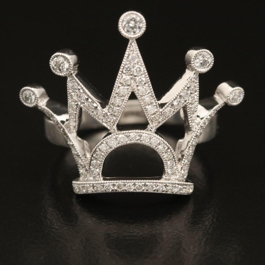 18K 0.44 CTW Crown Ring