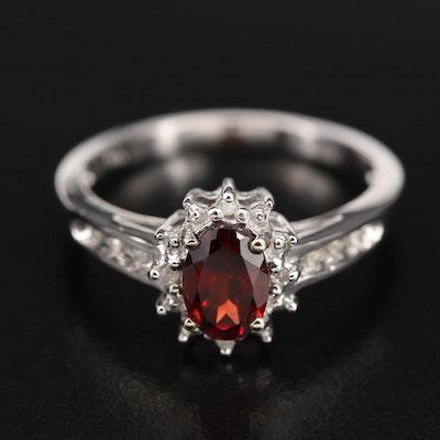 10K Garnet and 0.05 CTW Diamond Ring