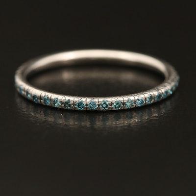 Palladium 0.35 CTW Fancy Blue Diamond Eternity Band