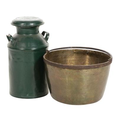 Decorative Cast Iron Milk Jug and Copper Cauldron