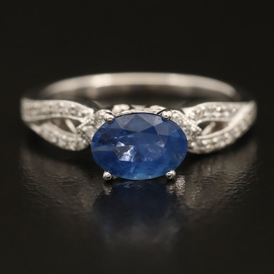 14K 1.19 CT Sapphire and Diamond East-West Ring