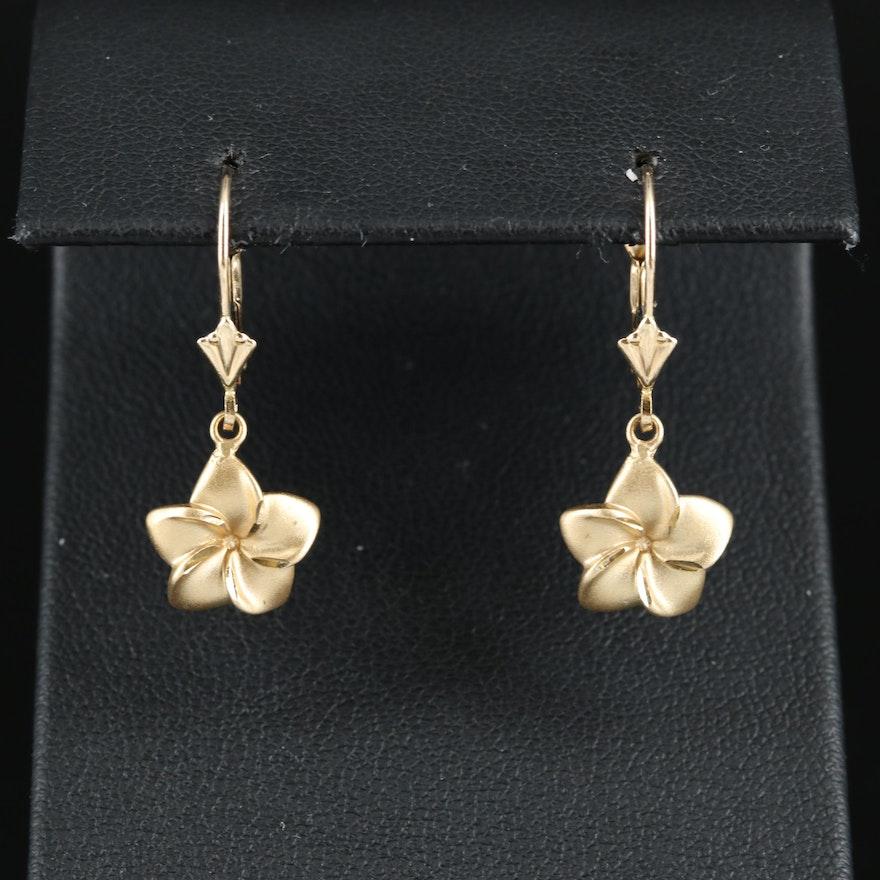 14K Plumeria Earrings