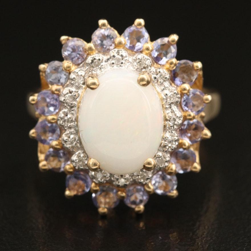 10K Opal, Diamond and Tanzanite Ring