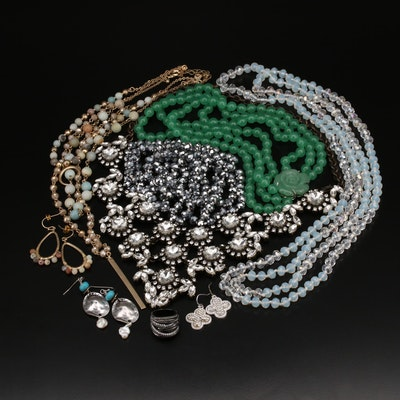 Beaded and Bib Necklaces with Sterling High Low Ring and Drop Earrings