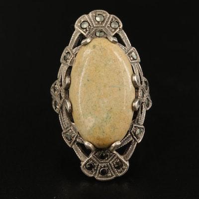 Vintage Sterling Jasper and Hematite Pointer Ring