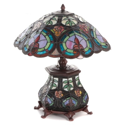 Art Nouveau Style Floral Motif Hexagonal Leaded Slag Glass Table Lamp