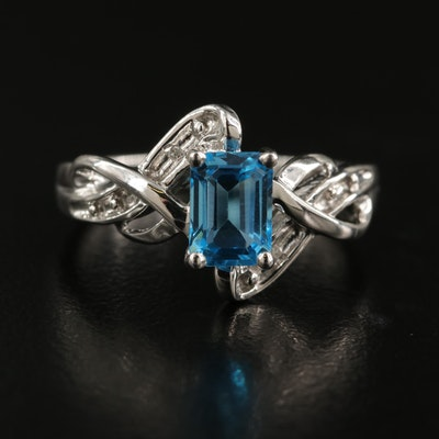 10K Swiss Blue Topaz and 0.01 CTW Diamond Ring