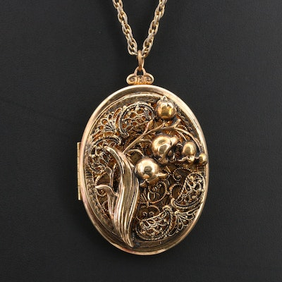 Vintage Lily of the Valley Locket Necklace with Engraved Florets