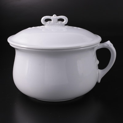 Johnson Bros Ironstone Chamber Pot with Lid, Late 19th Century