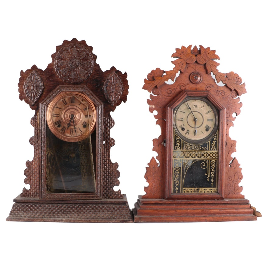 E. Ingraham Co. Gingerbread Style Wood Mantel Clocks, Late 19th Century