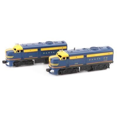Lionel O Gauge Model Railroad Santa Fe Diesel Engines, Mid-20th Century