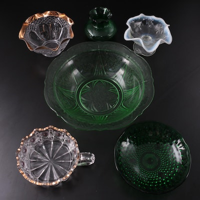 """Newport Glass """"Bull's Eye Daisy"""" Nappy Bowl with Other EAPG and Depression Glass"""