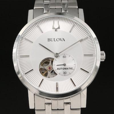 Bulova Clipper Open Heart Dial Stainless Steel Automatic Wristwatch