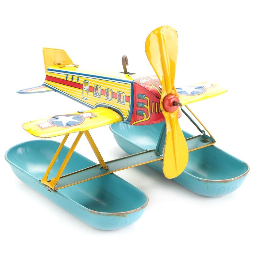 """J. Chein & Co. """"Aquaplane"""" Tin Litho Toy Plane, Mid-20th Century"""