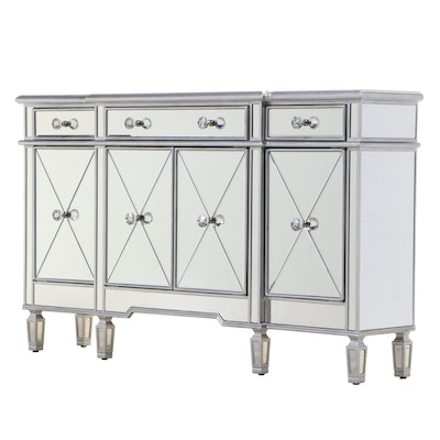 Contemporary Silver-Gilt and Mirrored Glass Breakfront Sideboard