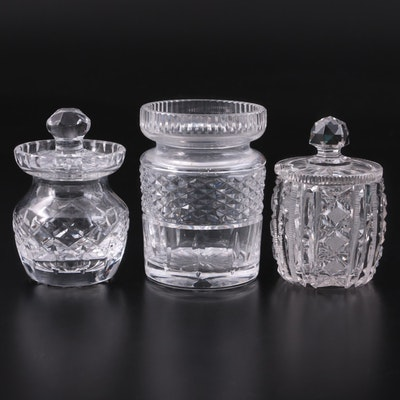 Waterford Crystal and American Brilliant Style Glass Honey Jars and Bowl