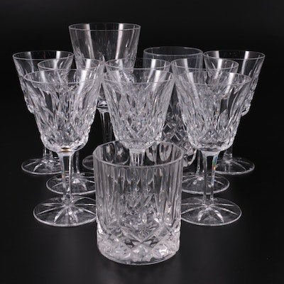 """Waterford Crystal """"Lismore"""" Claret Wine Glasses with Other Crystal Drinkware"""