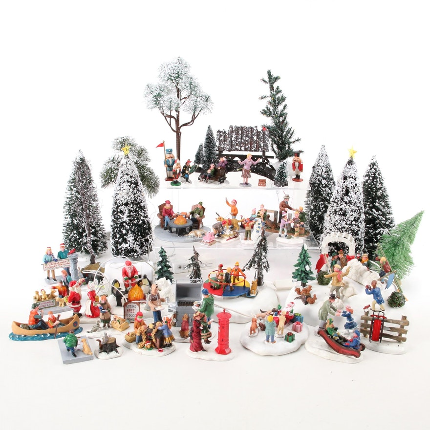 """Lemax """"Christmas Village"""" Resin Figurines and Landscape"""