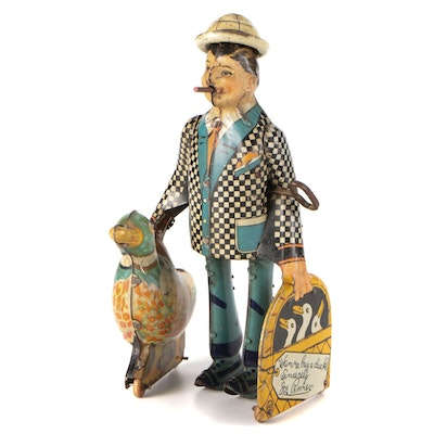 """Marx """"Wanna Buy a Duck?"""" Joe Penner Tin Litho Wind-Up Toy, Early to Mid 20th C."""