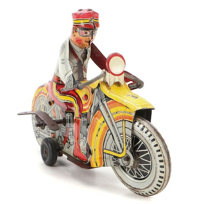 Marx Tin Lithograph Wind-Up Motorcycle, 1930s