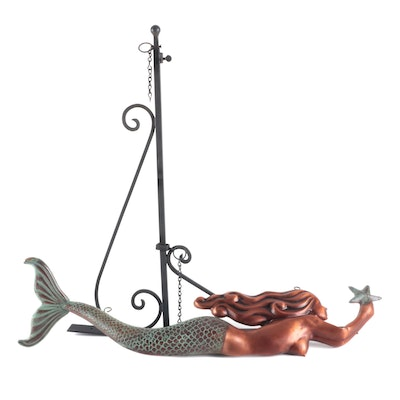 Copper and Metal Figural Mermaid Hanging Sign