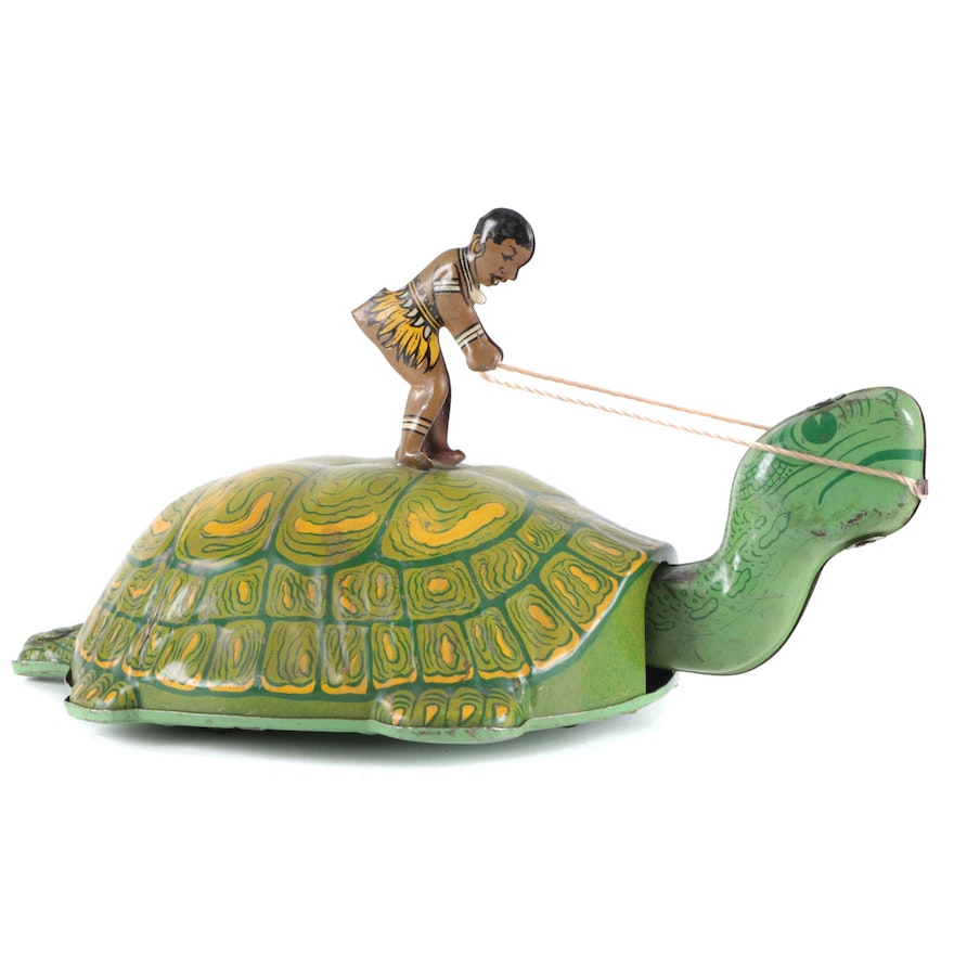 J Chein & Co. Tin Litho Wind-Up Turtle and Rider, Early to Mid-20th Century