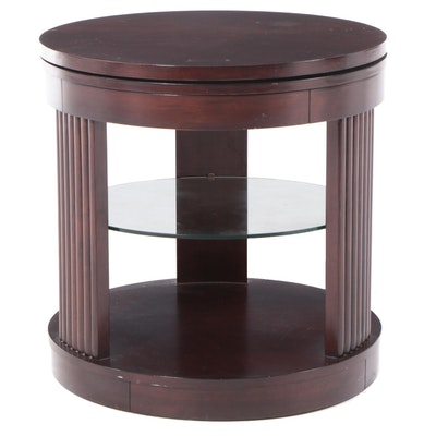 Cylindrical End Table with Glass Shelf